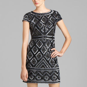 Adrianna Papell Black Sliver Bead Cap Sleeve Dress